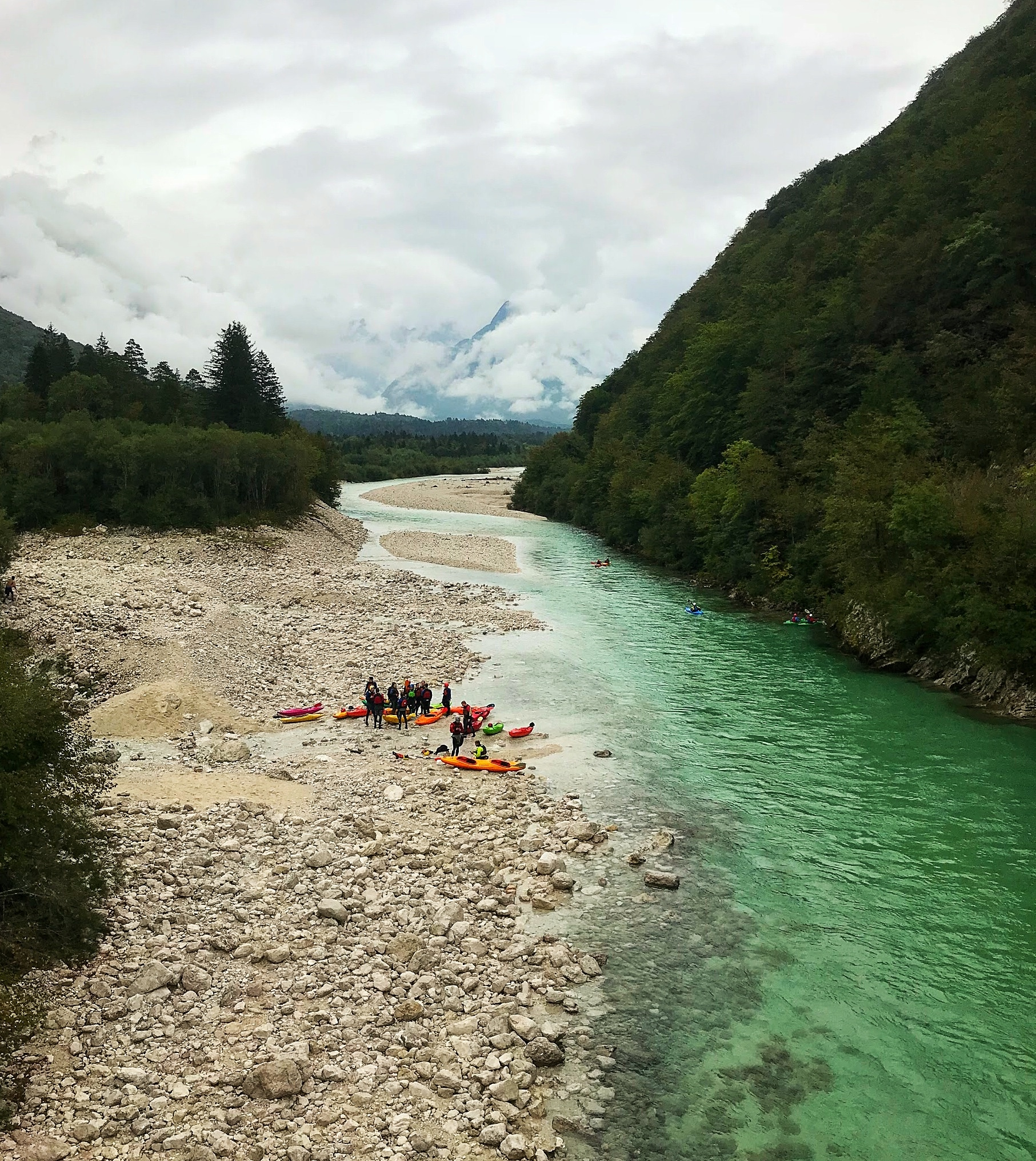 Rafting tour operators taking people down the Soca River