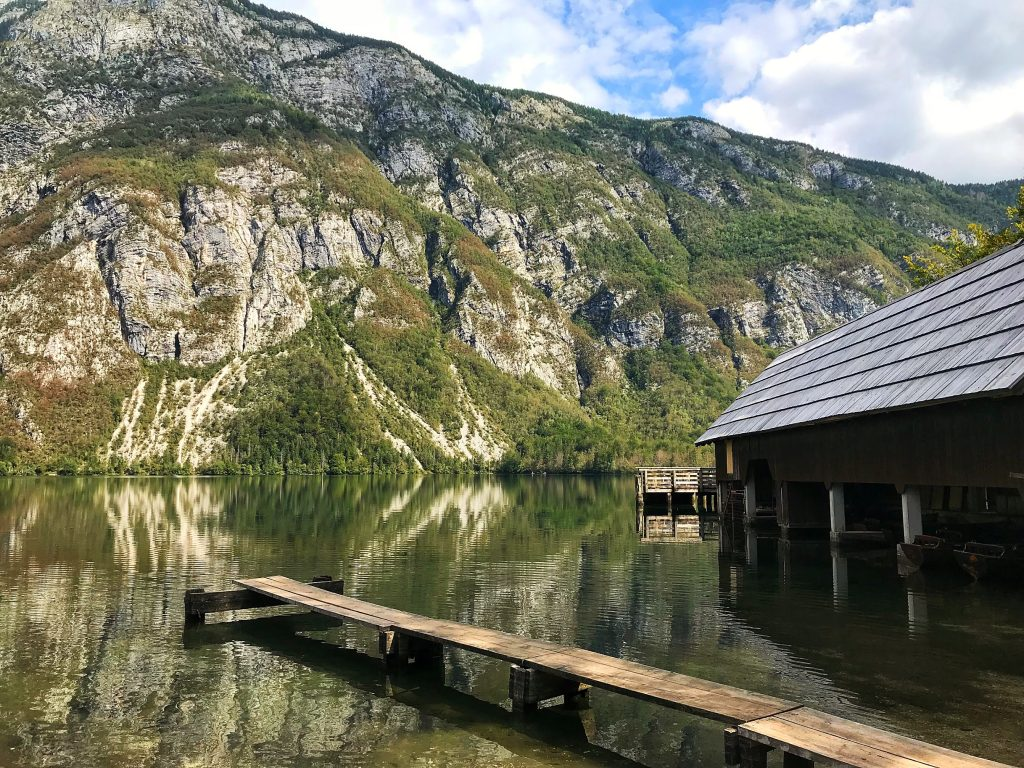 A lake hut and pier on Lake Bohinj in Triglav National Park, Slovenia