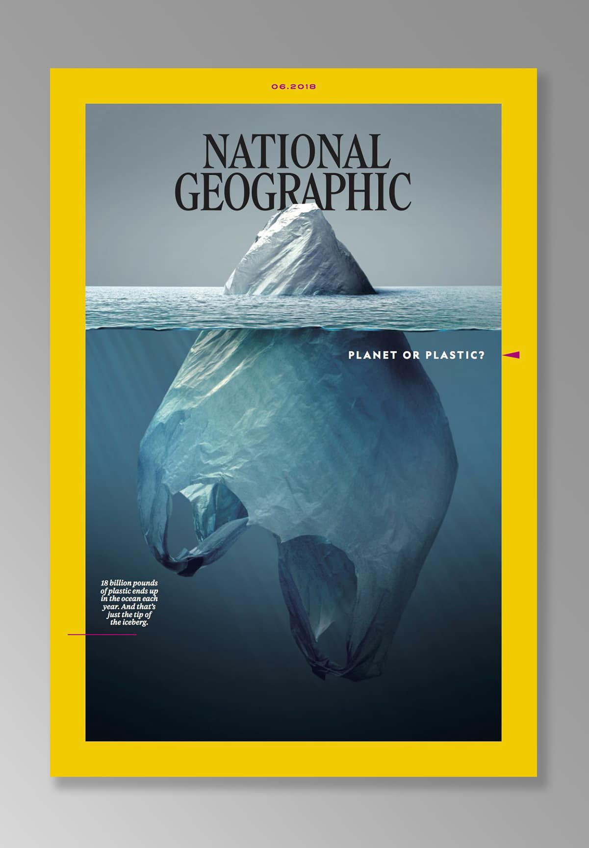 As the world continues to drown in single-use plastic, the iconic magazine has launched a multi-year initiative called Planet or Plastic? The newly unveiled June 2018 cover illustration by Jorge Gamboa
