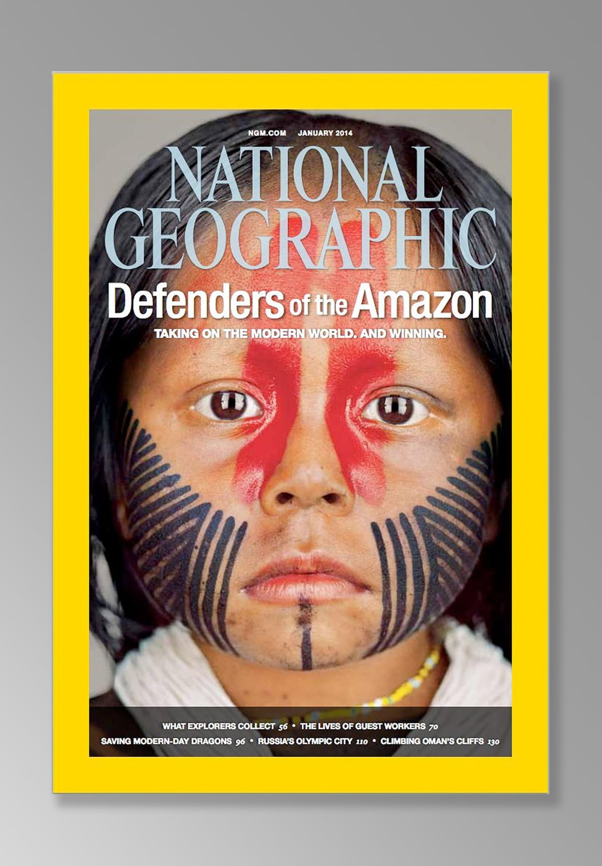 A young Kayapo girl represents her tribe in the Amazon photographed by Martin Schoeller for National Geographic Magazine