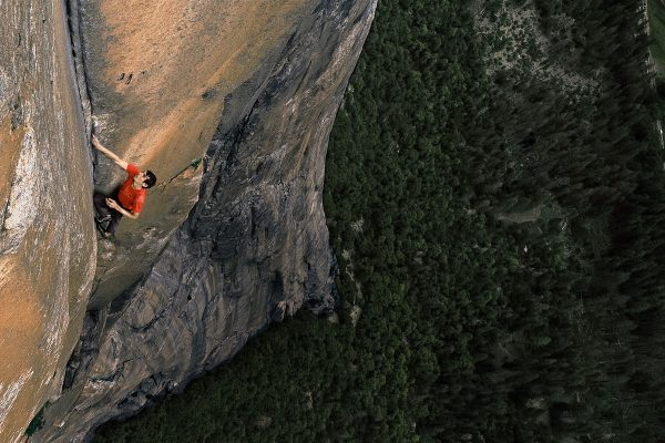 "Image of Alex Honnold free sololing in Yosemite for ""Free solo"" film trailer UK"