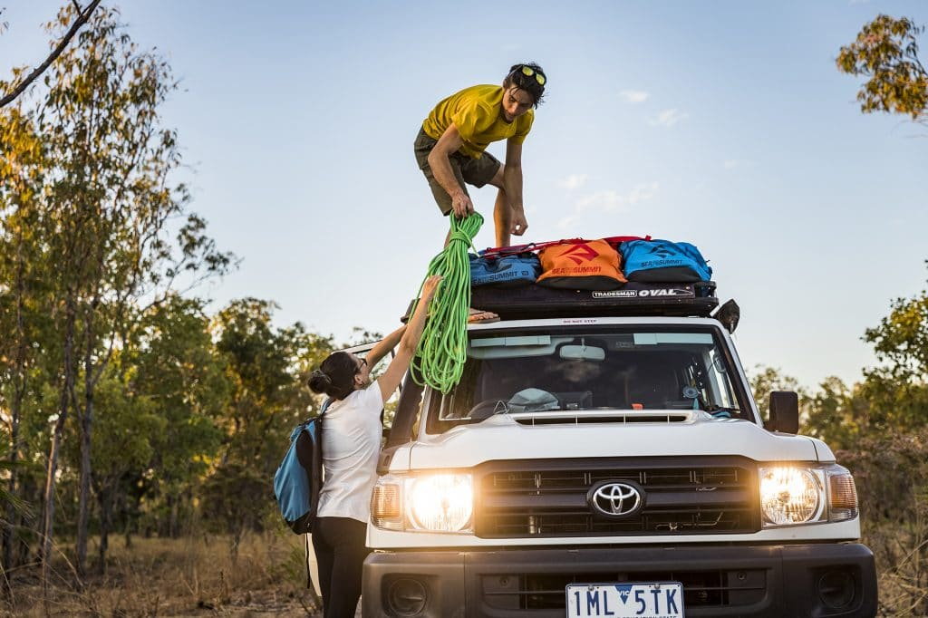 Sea to Summit Outdoors Travel Duffle Bag (45L) on top of a Toyota truck in the outback