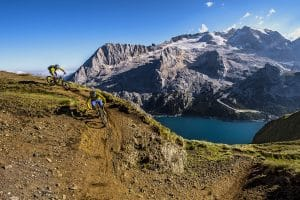 Mountain bikers on the Sella Ronda trail in the Dolomites in Italy